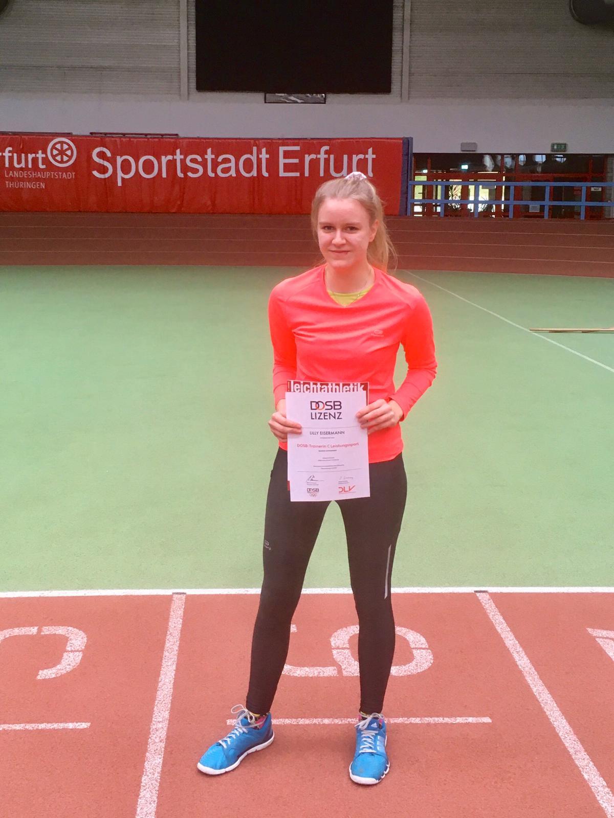 Erfolgreicher Abschluss als C-Trainer Leichtathletik für Lilly Eisermann